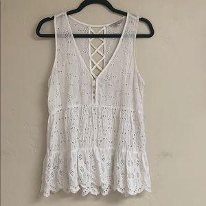 White eyelet floral ruffle trapeze tank top /shirt